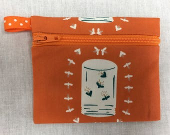 Firefly-Lightning Bug Zipper Coin Purse, Credit Card Pouch, Earbud Holder, iPod Pouch
