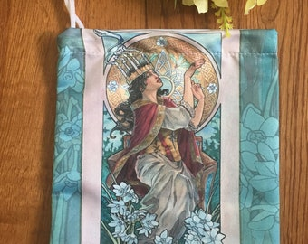 Drawstring Bag Lady of December Art Nouveau Birthstone Series Goddess Lucia with Narcissus Mucha Style Tarot Deck Cosmetic Makeup Bag