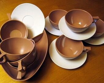 Melmac Mar Crest Melamine Dishes Chocolate White