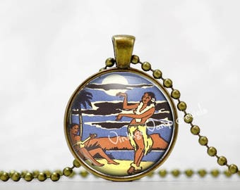 HAWAII Hula Dancer Pendant Necklace Hawaii  Glass Art Jewelry , Tiki Necklace Jewelry, Vintage Hawaii Art