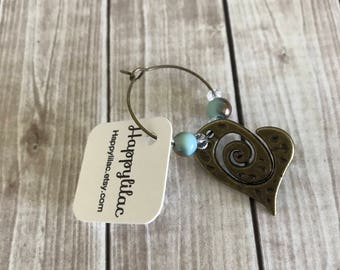 Wine Charm, Heart Wine Charm, One Wine Charm, Heart Decor, Wine Glass Charm, Gift for Wife, Pretty Wine Charm, Birthday Gift, Mothers Day