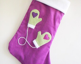 Mittens Amethyst Purple Modern Christmas Stocking - Personalized Christmas Stocking - Children's Stocking