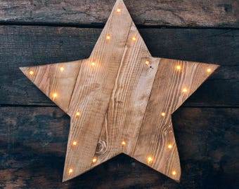 Rustic wooden light up LED Star. Battery operated / 5 point star / Wooden Star / Warm white