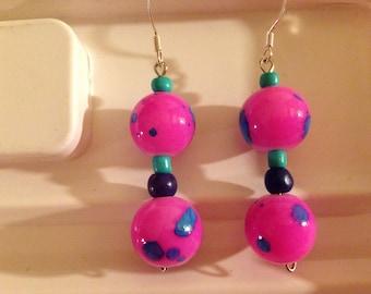 Pink lantern earrings