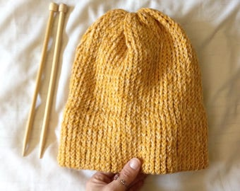 Super Cozy Beanie / Hat - Double Brimmed - Rolled Brim - Knit -  Any Color - Custom - Made to Order