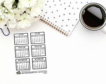 Planner Stickers  Q3 2018 Monthly Calendar Stickers  2018 Mini Calendar Stickers  2018 Mini Monthly Calendar Stickers CA003