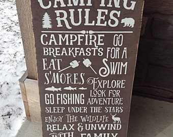 Camping Sign, Rustic Camping, Camper, Cabin, Lake, Cottage Rules Sign Primitive Typography subway sign