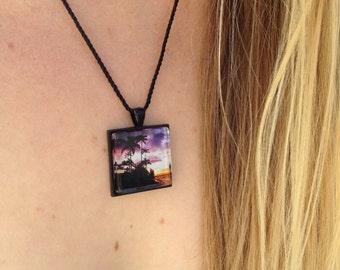 Purple pendant, beach sunset, original photo art, Tropical Photo Pendant, gift for her, girlfriend gift, Hawaiian sunset photo pendant