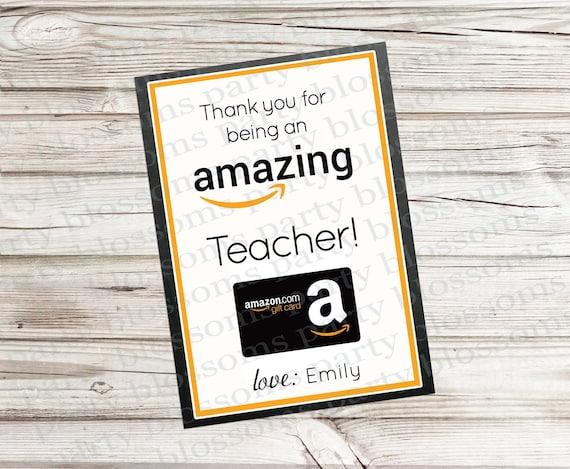 Printable Teacher Appreciation Gift Card Holder for Amazon