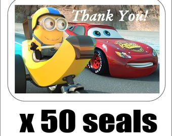 """50 Disney Cars and Minion Thank You Envelope Seals / Labels / Stickers, 1"""" by 1.5"""""""