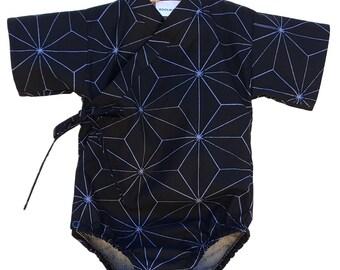 Baby Bodysuit Kimono - BLUE MATRIX - Japanese kimono onesie for baby and toddler