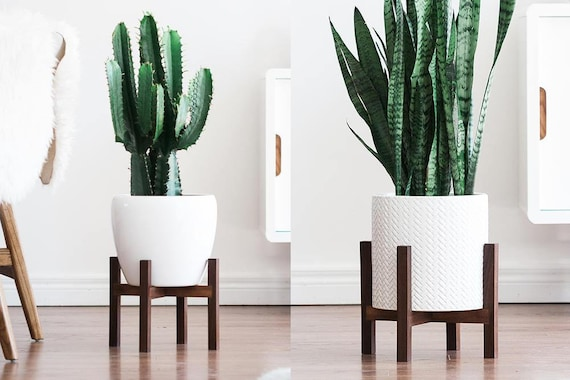 modern plant stands  Mid Century Modern Plant Stand with Square Legs Planter
