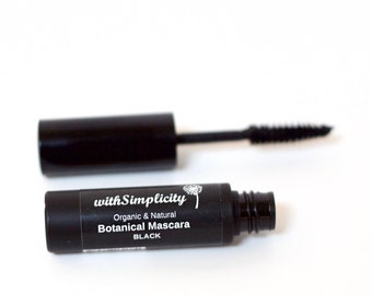Organic Mascara Black or Brown with  Botanical Ingredients , Vegan, Gluten Free, Cruelty Free