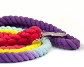"""Rope Leash """"The Bogart"""" in  Purple, Robin's Egg, Yellow, and Red"""