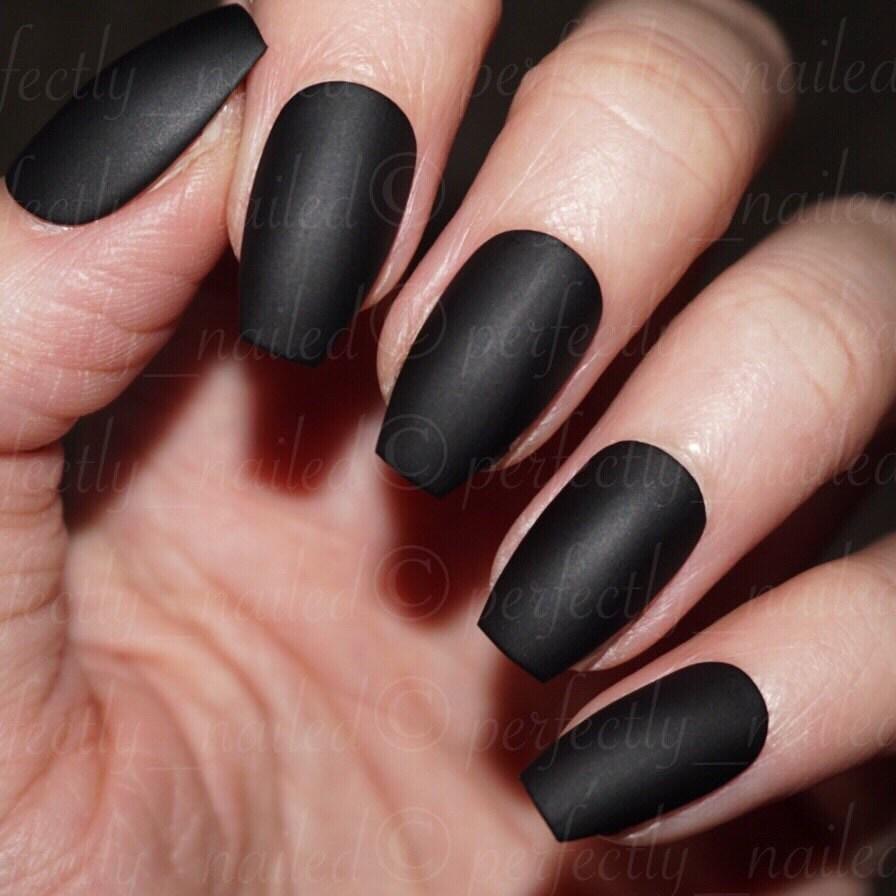 Matte Black • Handpainted False Nails • Fake Nails • Press on Nails ...