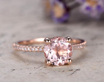 7mm Rose Gold Morganite Engagement Ring,Solid 14K Rose Gold Promise Ring For Her,Diamond Wedding Rings women,prong Set,anniversary ring.