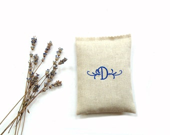 Lavender sachet drawer freshener, personalized sachet, embroidered monogram letter initial, bridesmaids gifts, Mothers day