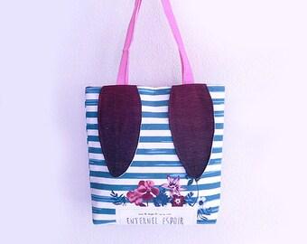 Sac fourre-tout en tissu de coton -Rabbit Ears Sac fourre-tout - Recycle Bag - Sac à provisions - Floral Printemps Été