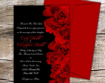 Red Rose Wedding Collection - Black and Red Invitation with Premium Envelope