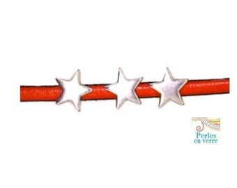 1 Pearl pass leather star leather 5mm silver-plated (cui40)