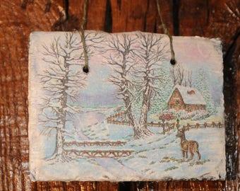 Slate theme table: snowy landscape