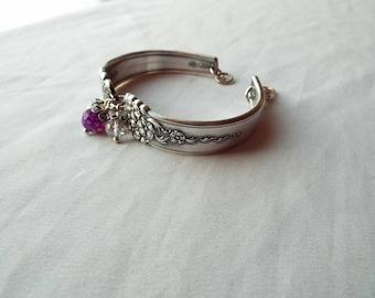 """Spoon Bracelet, Silverware Jewelry, Spoon Jewelry, gemstones, floral spoon bracelet,"""" Moss Rose """" by National silver co., 1949"""