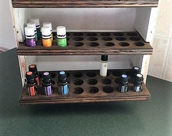 Essential oil storage shelf (holds 72 bottles) Farmhouse style
