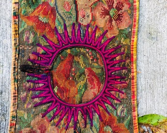 table runner made of three upcycled huipil from Guatemala