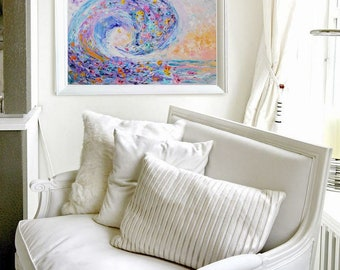 Flower Wave Ocean painting Blue Gift-for-mother gift-for-friend gift-for-sister gift-for-mom gift-for-woman gift-for-her