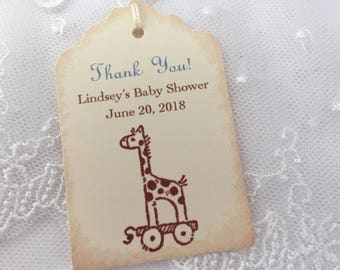 Boy Giraffe Baby Shower Tags Favor Gift Tags Blue Personalized Set of 10