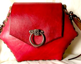 Cranberry Red Leather Hexagon shaped Shoulder Bag