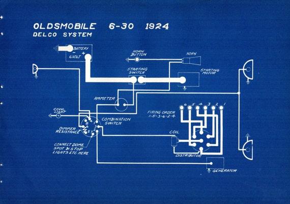 1927-Antik Blueprint Auto Oldsmobile Cleveland Fahrzeugtechnik