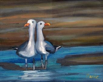 lovebirds, original art, oil painting, bird art, landscape, coastal art