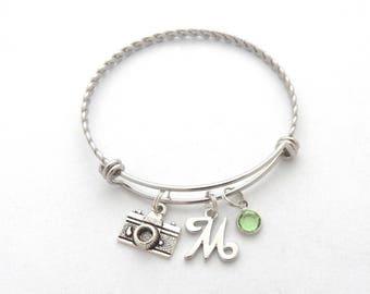 Photographer Bracelet, Photographer Jewelry, Camera Gift, Personalized Camera Charm Bracelet, Initial, Monogram Camera jewelry, Photography