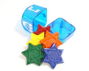 Hanukah Dreidel with jewish stars crayon set of 5 crayons in plastic Dreidel by Scribblers Crayons