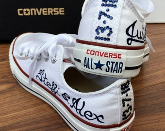 Custom Converse Wedding Bridal shoes, Just Married, Bride & Groom names, crystal wedding date on the back and white satin ribbon shoelaces.