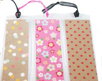 Set of 3 Decorative Plastic Bookmarks with Flower and Polka Dot Paper Book Lover Book Club Teacher Girl Reader Gift