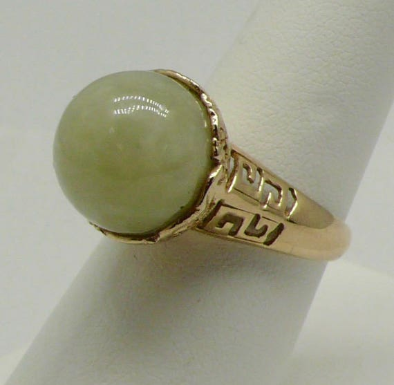 Vintage 14kt Gold Lady's Jade and Dragon Ring by Sanuk