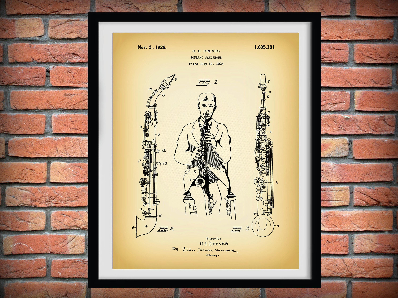 1926 Soprano Saxophone Patent Print - Musical Instrument - Music ...
