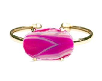 Pink Agate Bracelet Gold Cuff Adjustable Slab Magenta Rose Boho Chic Summer High Fashion Trendy Style by Mei Faith