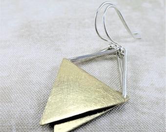 Brass Earrings · Geometric Earrings · Silver Earrings · Dangle Earrings · Mixed Metal Earrings · Minimalist Earrings · Triangle Earrings