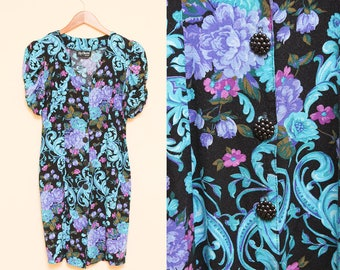 Floral Mini Dress // Short Sleeve Party Dress // 1980s New Wave Puffy Cinched Sleeve Blue Purple Sweetheart Cocktail Dress Size 7 Small