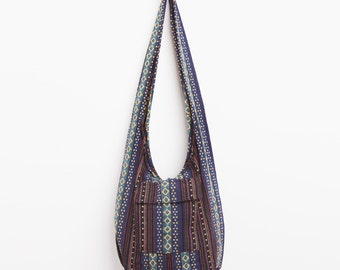 Boho Sling Crossbody Bag with Naga Tribes Cotton in Brown (BG601NA1BR)