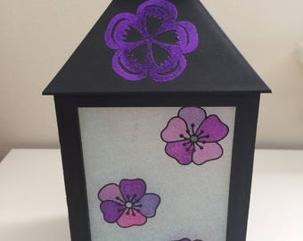 Poppy lantern, Night light, Fairy lantern, Centerpiece, Glitter flowers, Silver Griffon Designs, Home decor, Glass lantern