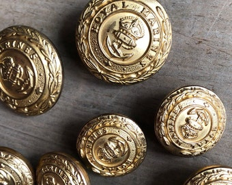 Vintage Waterbury Button Co. Royal Marines brass coat uniform buttons set of 10