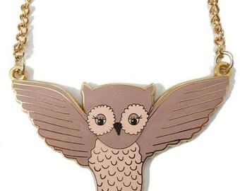 Enamel Owl in Flight Necklace *Last one!