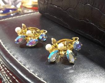 Pearl and Aurora Borealis Crystal Earrings