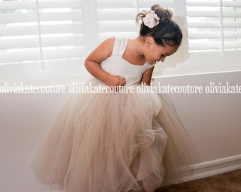 Rustic Weddings Champagne Flower Girl Dress