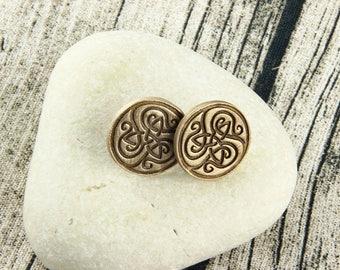 Celtic Triquetra - Triple Spiral - Celtic Stud Earrings - Bronze, Earthtone