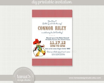 Vintage Cowboy Printable Birthday Invitation by tania's design studio
